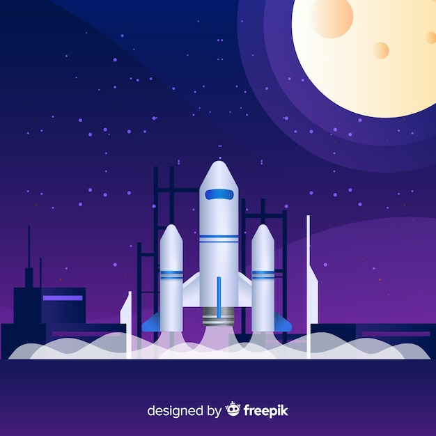 Cohete en degradado sobre plataforma de lanzamiento vector gratuito