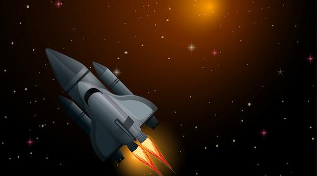 Cohete en escena espacial Vector Premium
