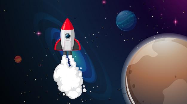 Cohete en escena espacial vector gratuito