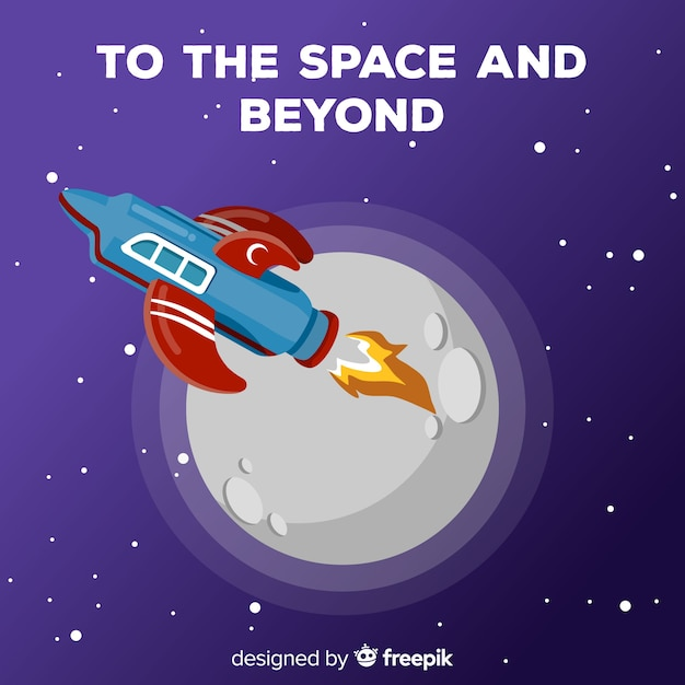 Cohete espacial adorable con diseño plano vector gratuito