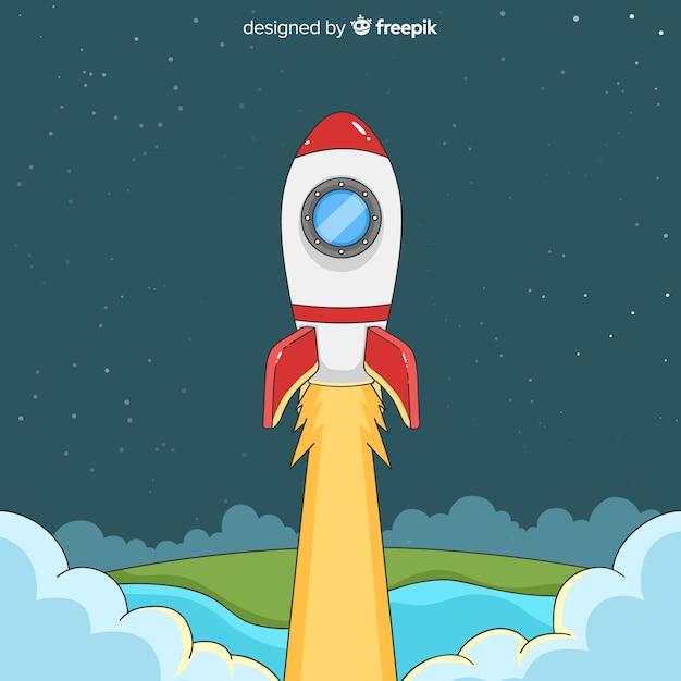 Cohete espacial moderno dibujado a mano vector gratuito