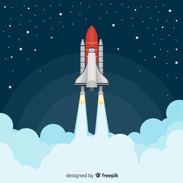 Cohete espacial moderno con diseño plano vector gratuito