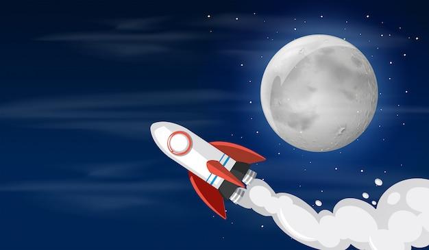 Un cohete en la ilustración del cielo vector gratuito