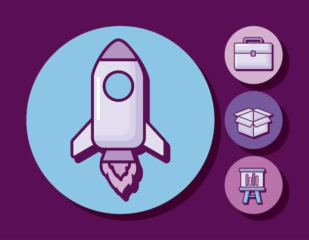 Cohete de inicio con iconos de negocios vector gratuito