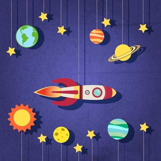 Cohete de papel en el espacio vector gratuito
