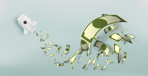 Cohete de papel con una gran cantidad de ilustración vectorial de dinero Vector Premium