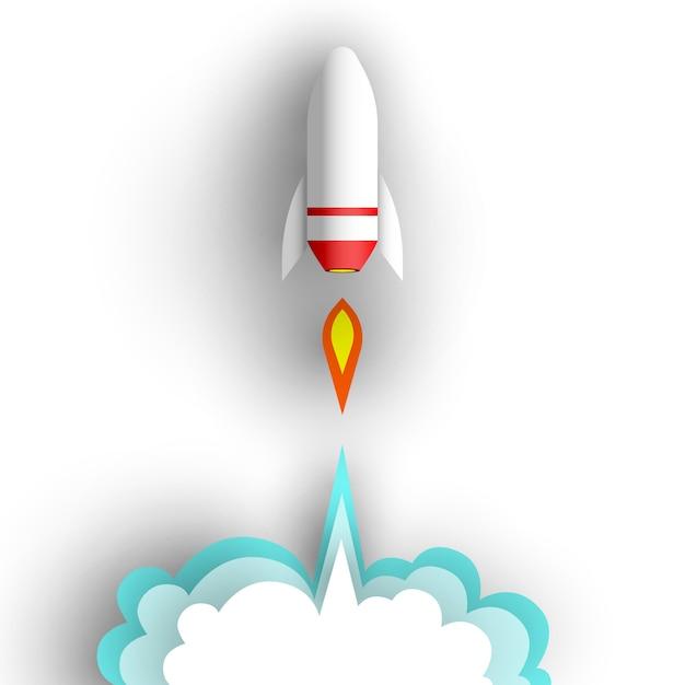 Cohete sobre fondo blanco. ilustración. Vector Premium