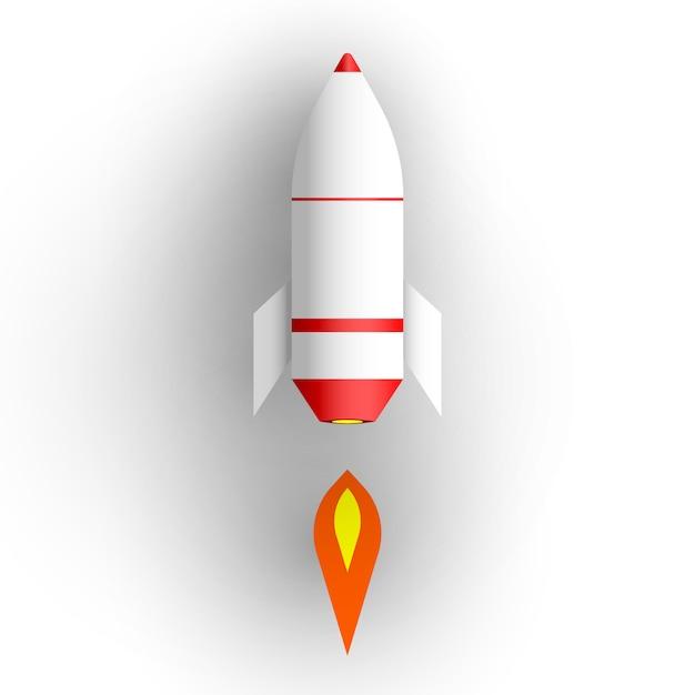 Cohete sobre fondo blanco. Vector Premium
