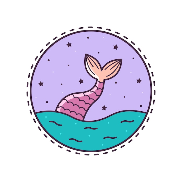 La cola de sirena. ilustracion vectorial Vector Premium