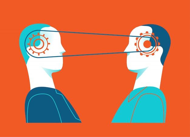 Colaboración y sinergia. las mentes conectadas de dos personas. Vector Premium