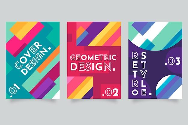Colección abstracta colorida cubierta geométrica vector gratuito