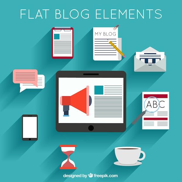 Colección de accesorios para blog en diseño plano vector gratuito
