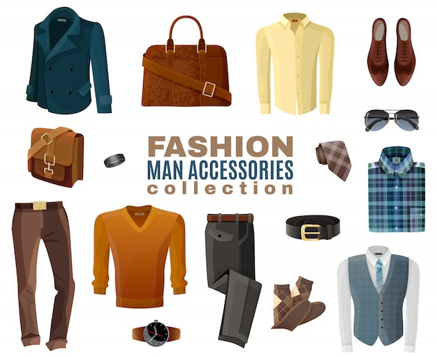 Colección de accesorios de moda hombre vector gratuito