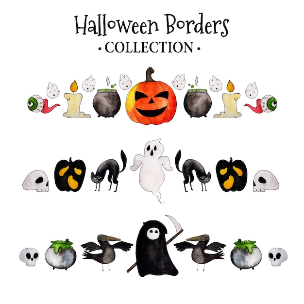 Colección acuarela borders de halloween Vector Premium