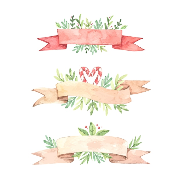 Colección de acuarela cinta navideña vector gratuito