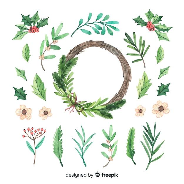 Colección de acuarela flor de navidad y corona vector gratuito