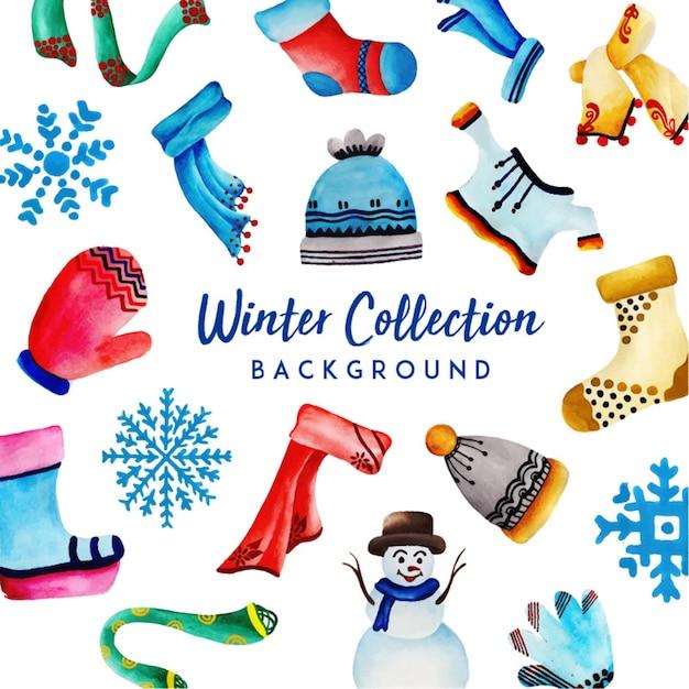 Colección acuarela invierno Vector Gratis