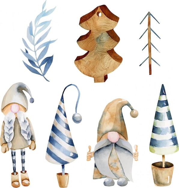 Colección de acuarela de juguetes de árboles de navidad y duendes escandinavos Vector Premium