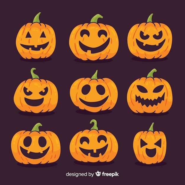 Colección adorable de calabazas de halloween dibujadas a mano vector gratuito