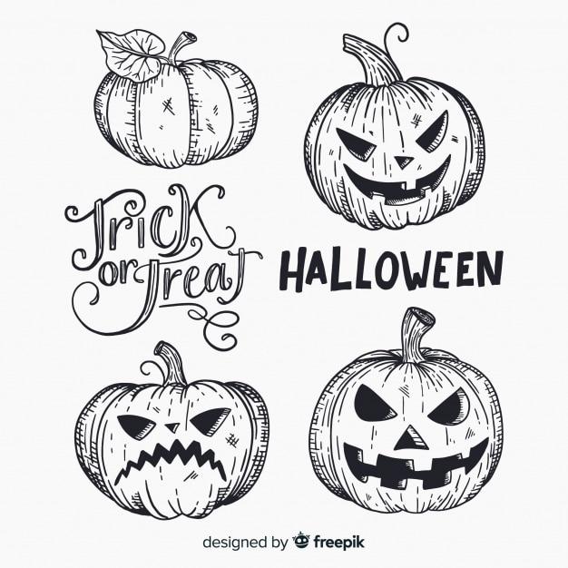 Colección adorable de calabazas de halloween dibujadas a mano ...