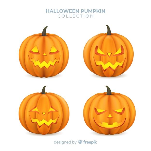 Colección Adorable De Calabazas De Halloween Con Diseño Realista Vector Gratis