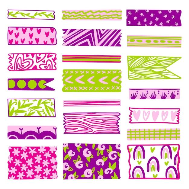 Colección adorable de cintas washi dibujadas vector gratuito