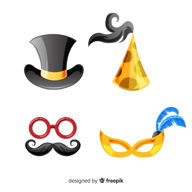 Colección adorable de elementos de fiesta de fin de año con diseño plano vector gratuito