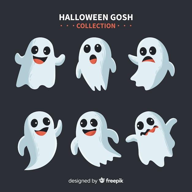 Colección adorable de fantasmas de halloween con diseño plano vector gratuito