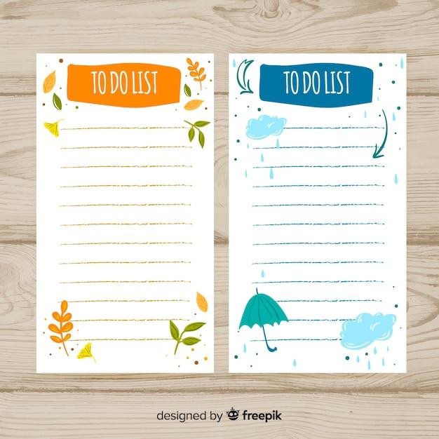 Colección adorable de listas de cosas que hacer dibujadas a mano vector gratuito