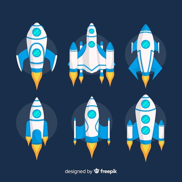 Colección adorable de naves espaciales con diseño plano vector gratuito