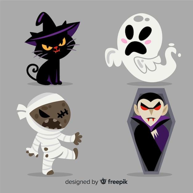 Colección adorable de personajes de halloween con diseño plano vector gratuito