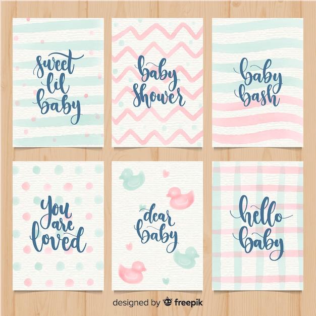 Colección adorable de tarjetas de baby shower en acuarela vector gratuito