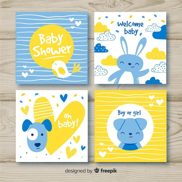 Colección adorable de tarjetas de baby shower dibujadas a mano Vector Premium