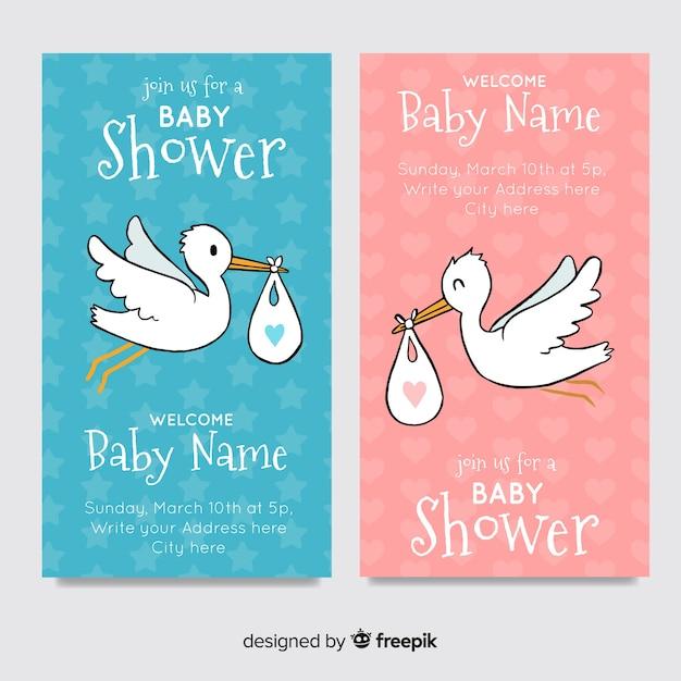 Colección adorable de tarjetas de baby shower dibujadas a mano vector gratuito