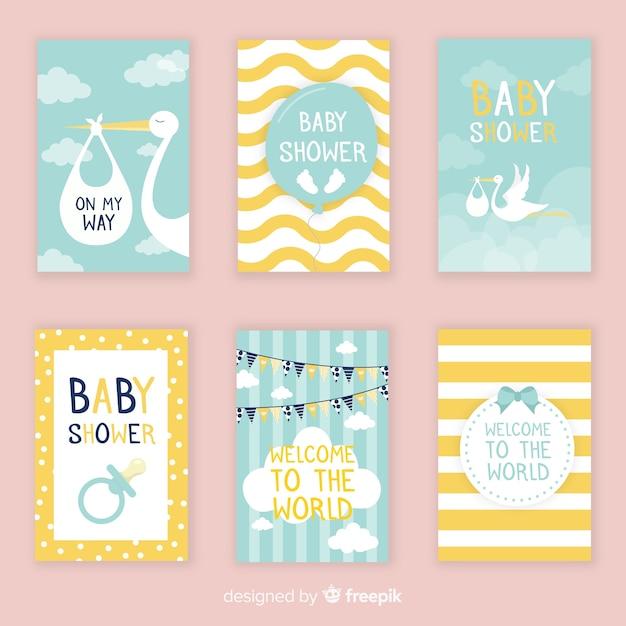 Colección adorable de tarjetas de baby shower con diseño plano vector gratuito
