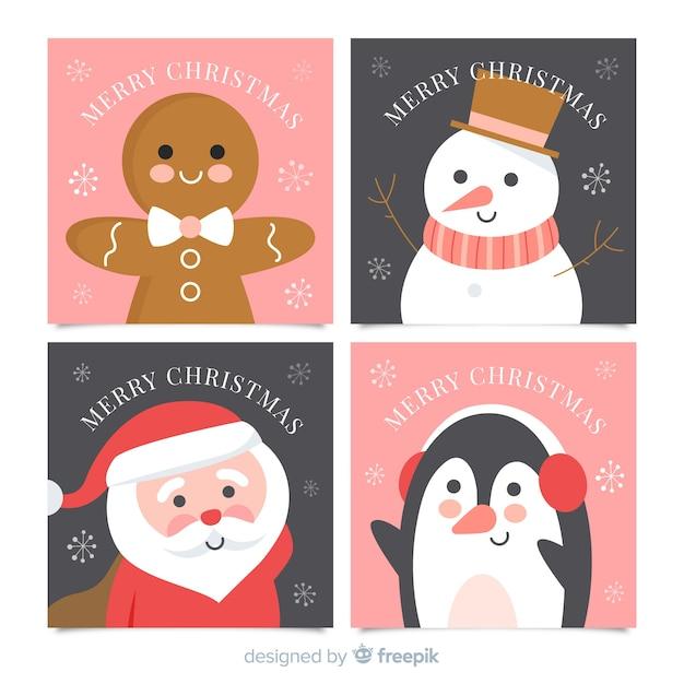 Colección Adorable De Tarjetas De Navidad Con Diseño Plano Vector Gratis