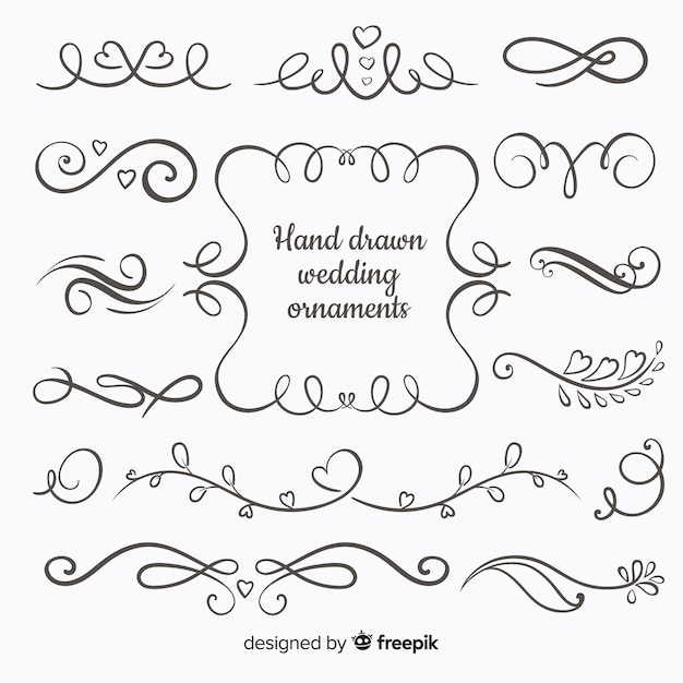 Colección adornos de boda dibujados a mano vector gratuito