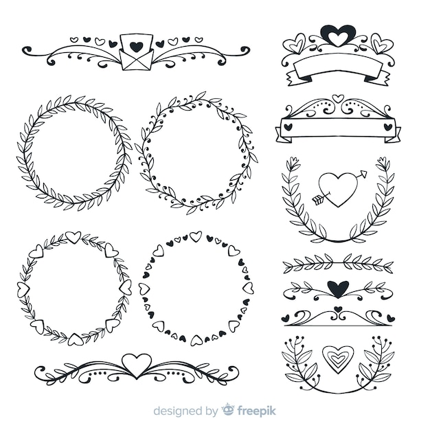 Colección de adornos de boda dibujados a mano vector gratuito