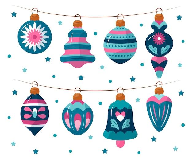 Colección adornos bolas navideñas dibujadas a mano Vector Premium
