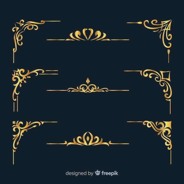 Colección de adornos de borde dorado Vector Premium