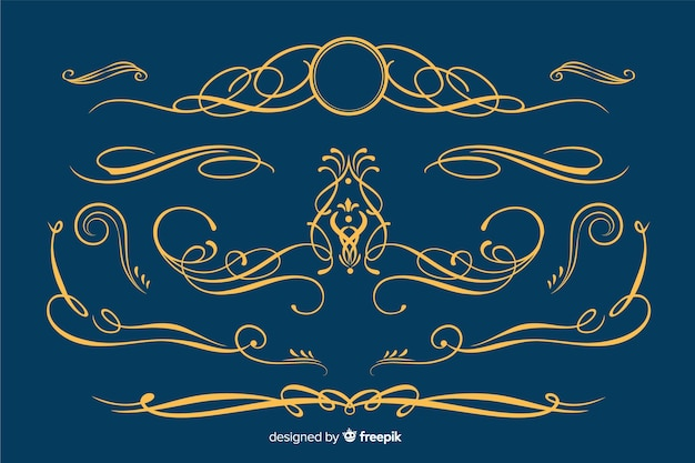 Colección de adornos de borde dorado vector gratuito