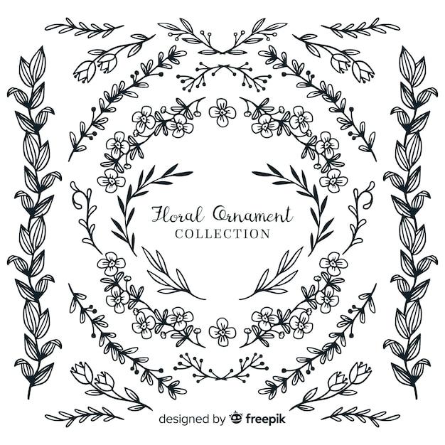 Colección de adornos florales dibujados a mano vector gratuito
