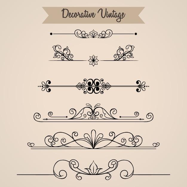 Colección de adornos florales vintage con estilo dibujado a mano Vector Premium