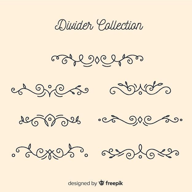 Colección de adornos separadores dibujados a mano vector gratuito