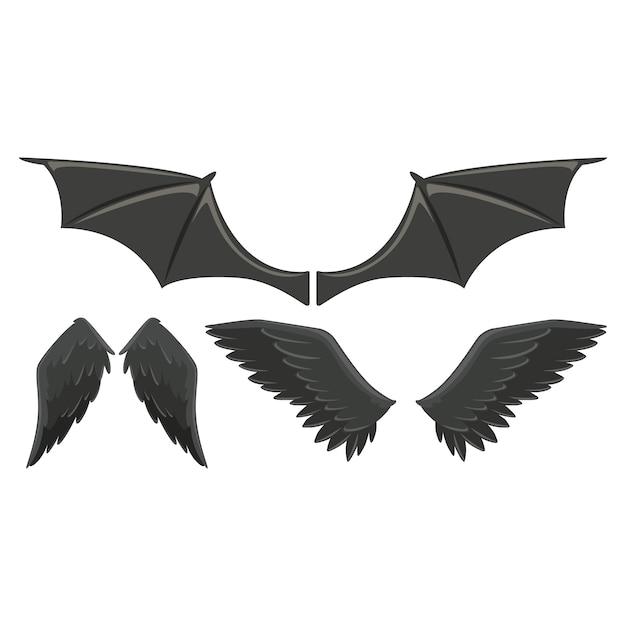 Colección de alas de animales salvajes vector gratuito