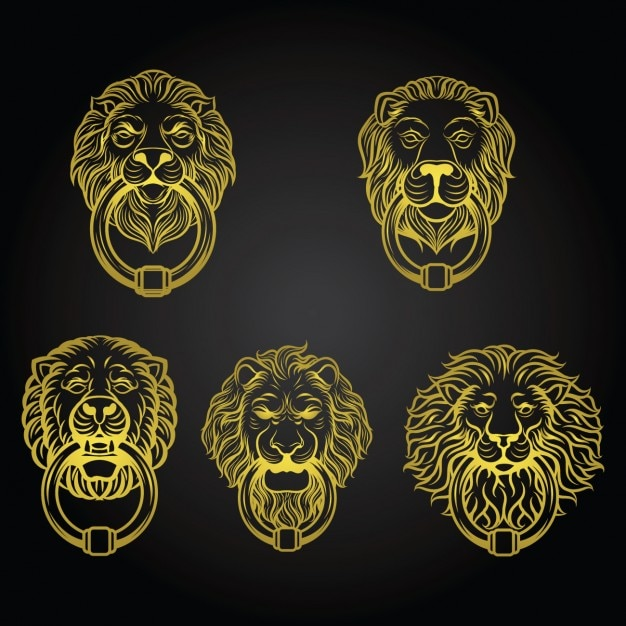 Colección de aldabas amarillas con forma de leones vector gratuito