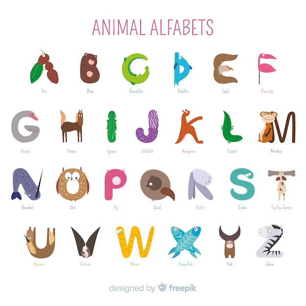 Colección de alfabeto animal como introducción en la escuela vector gratuito