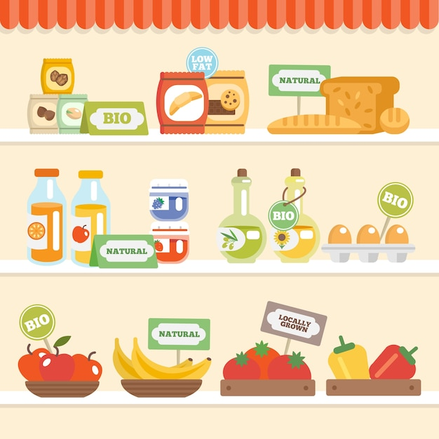 Colección de alimentos en el estante vector gratuito