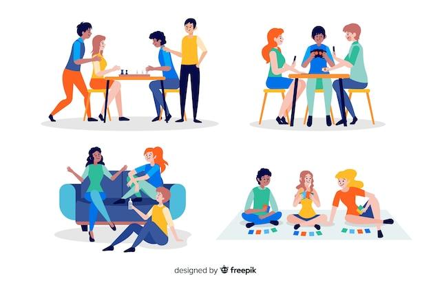 Colección de amigos pasando tiempo juntos vector gratuito