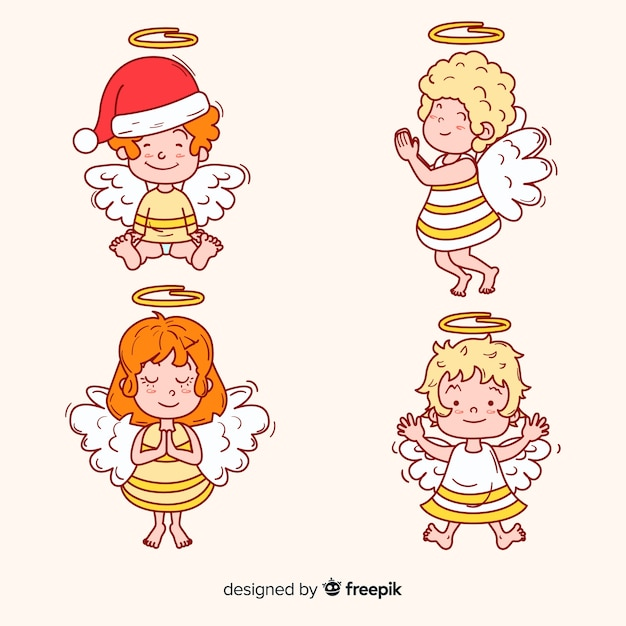 Colección de angelitos navideños dibujados a mano vector gratuito